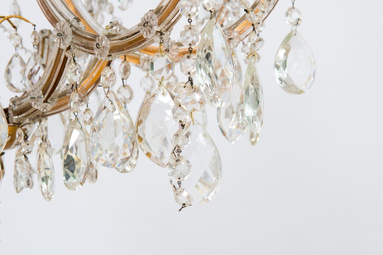 Italian Maria Theresa Chandelier in Transparent Murano Glass, Italy, 1930s For Sale