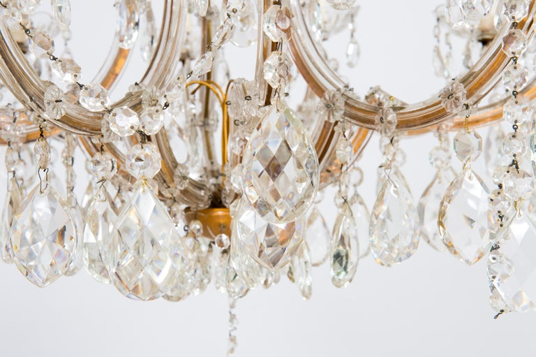 Hand-Crafted Maria Theresa Chandelier in Transparent Murano Glass, Italy, 1930s For Sale