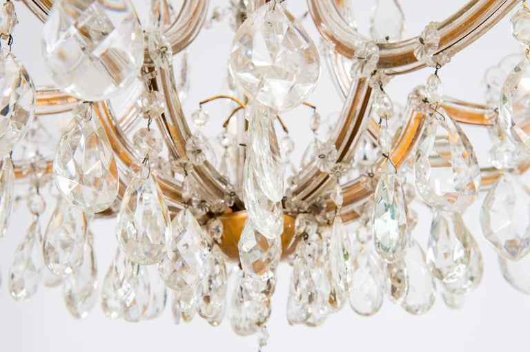 Maria Theresa Chandelier in Transparent Murano Glass, Italy, 1930s For Sale 2