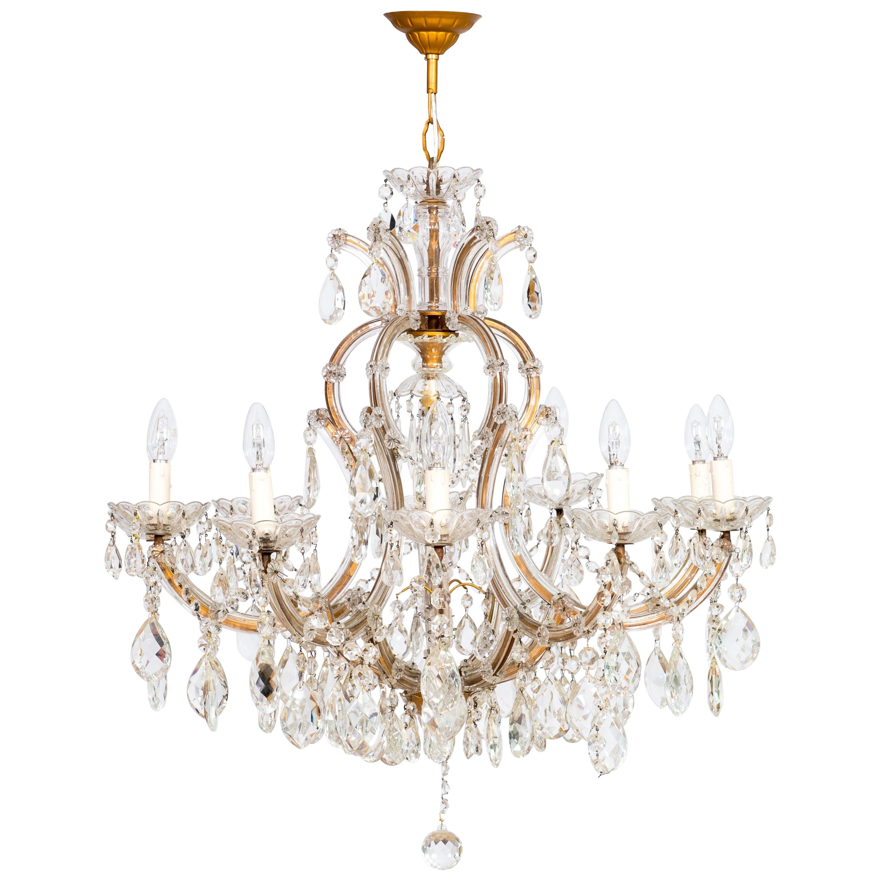 Maria Theresa Chandelier in Transparent Murano Glass, Italy, 1930s