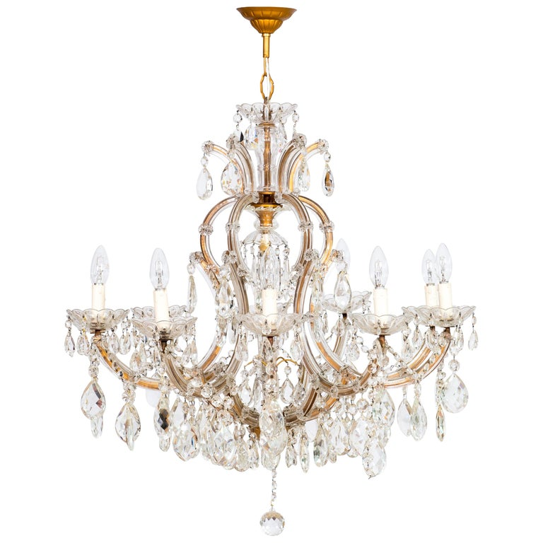 Maria Theresa Chandelier in Transparent Murano Glass, Italy, 1930s For Sale