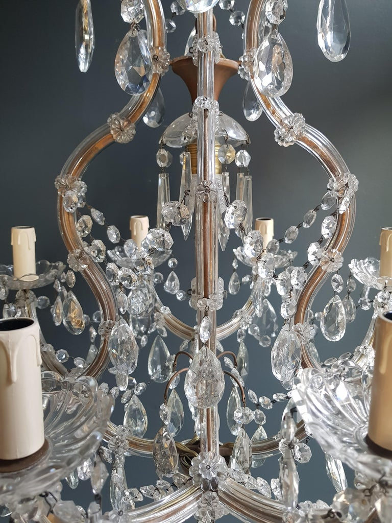 Hand-Knotted Maria Theresa Crystal Chandelier Antique Ceiling Lamp Lustre Art Nouveau For Sale