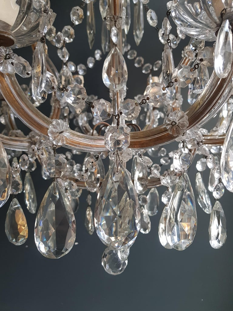 Maria Theresa Crystal Chandelier Antique Ceiling Lamp Lustre Art Nouveau In Good Condition For Sale In Berlin, DE