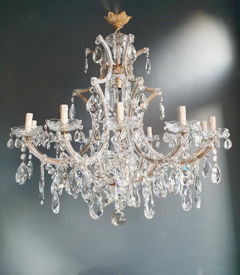 Mid-20th Century Maria Theresa Crystal Chandelier Antique Ceiling Lamp Lustre Art Nouveau For Sale