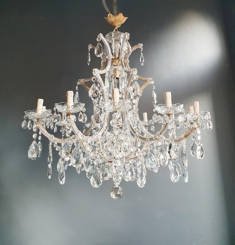 Brass Maria Theresa Crystal Chandelier Antique Ceiling Lamp Lustre Art Nouveau For Sale