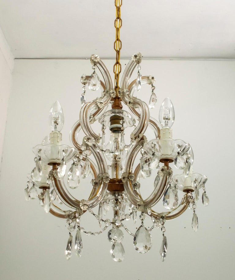 Maria Theresa Mid-Century Modern Italian 6-Light Crystal Chandelier, 1950s For Sale 5