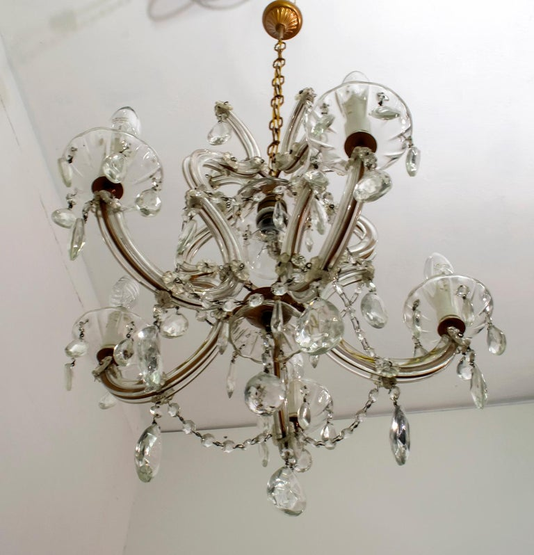 Maria Theresa Mid-Century Modern Italian 6-Light Crystal Chandelier, 1950s For Sale 6
