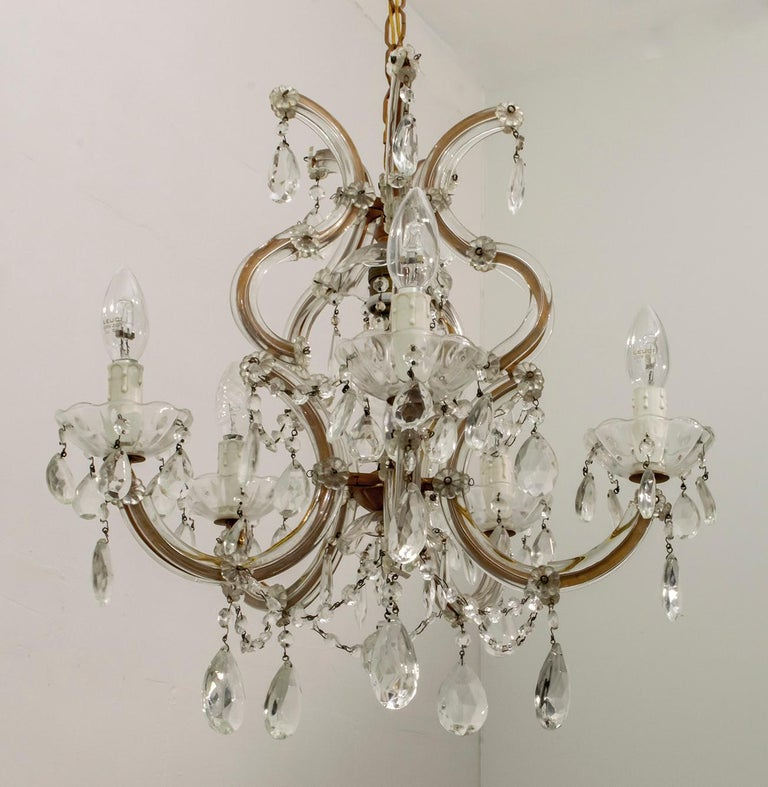 Maria Theresa Mid-Century Modern Italian 6-Light Crystal Chandelier, 1950s In Good Condition For Sale In Cerignola, Italy Puglia