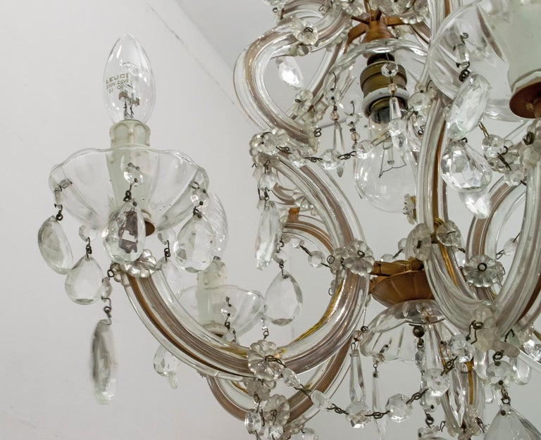 Mid-20th Century Maria Theresa Mid-Century Modern Italian 6-Light Crystal Chandelier, 1950s For Sale