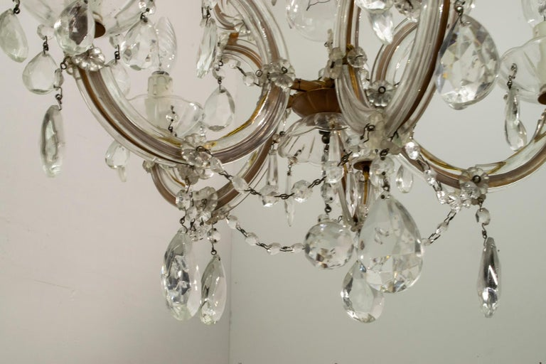 Brass Maria Theresa Mid-Century Modern Italian 6-Light Crystal Chandelier, 1950s For Sale