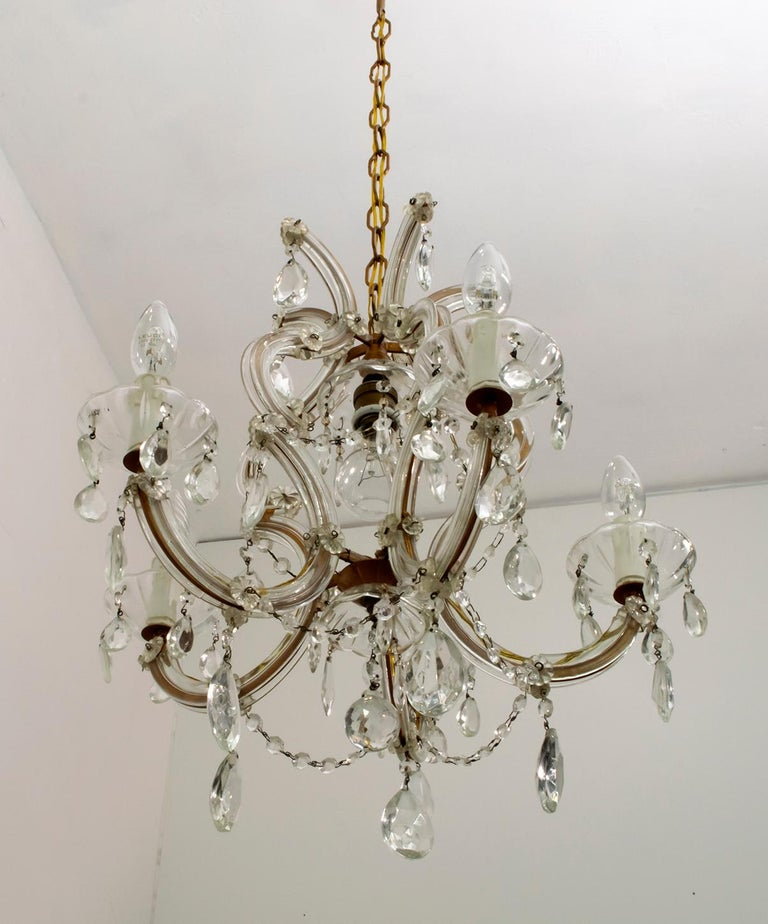 Maria Theresa Mid-Century Modern Italian 6-Light Crystal Chandelier, 1950s For Sale 2