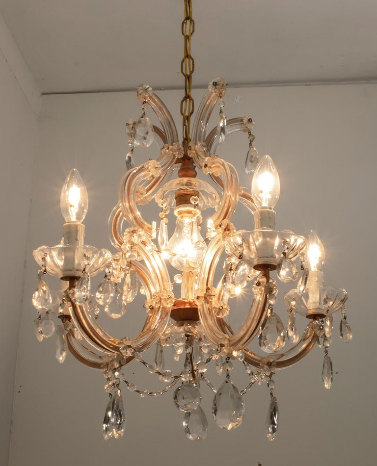 Maria Theresa Mid-Century Modern Italian 6-Light Crystal Chandelier, 1950s For Sale 3