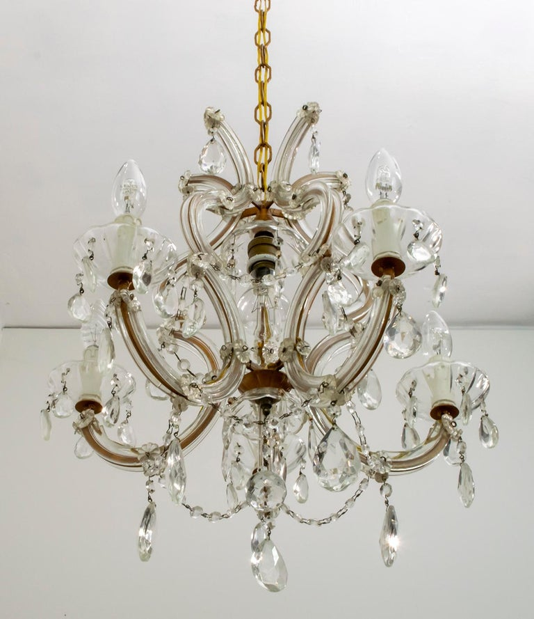Maria Theresa Mid-Century Modern Italian 6-Light Crystal Chandelier, 1950s For Sale 4