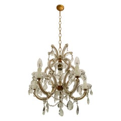 Maria Theresa Mid-Century Modern Italian 6-Light Crystal Chandelier, 1950s
