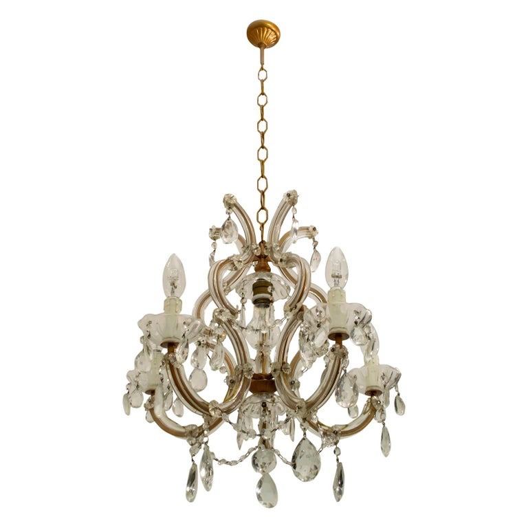 Maria Theresa Mid-Century Modern Italian 6-Light Crystal Chandelier, 1950s For Sale