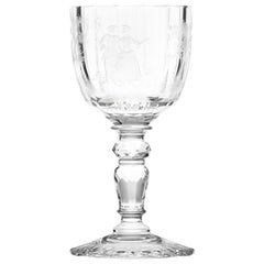 Maria Theresa Red Wine Crystal Goblet Clear, Hand Engraved Watteau Motif, 9.8 oz