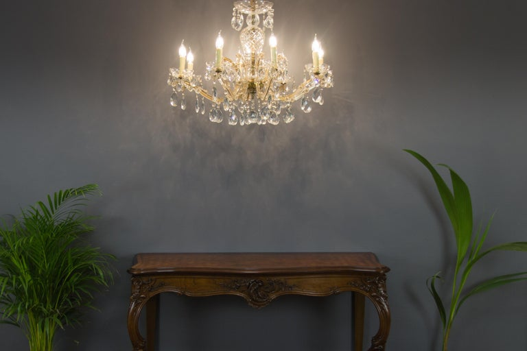 Maria Theresa Style Eight-Light Crystal Chandelier For Sale 14