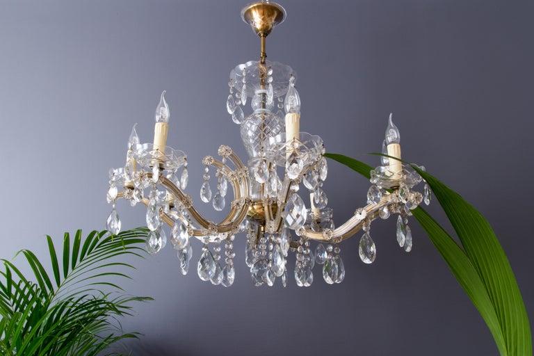 Italian Maria Theresa Style Eight-Light Crystal Chandelier For Sale
