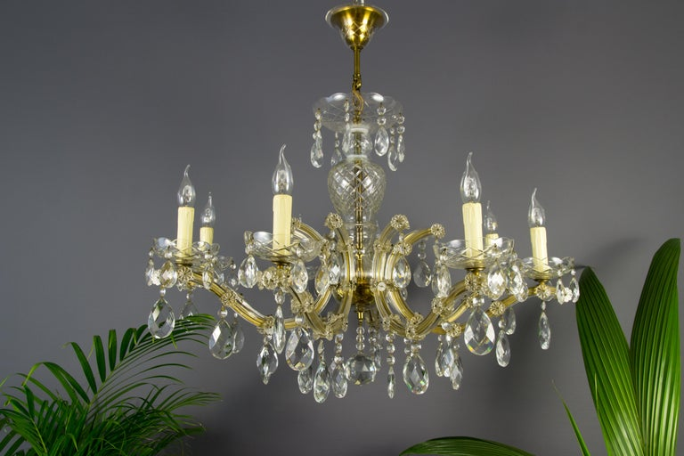 Mid-20th Century Maria Theresa Style Eight-Light Crystal Chandelier For Sale