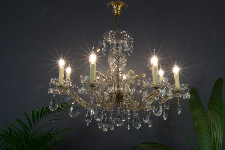 Metal Maria Theresa Style Eight-Light Crystal Chandelier For Sale