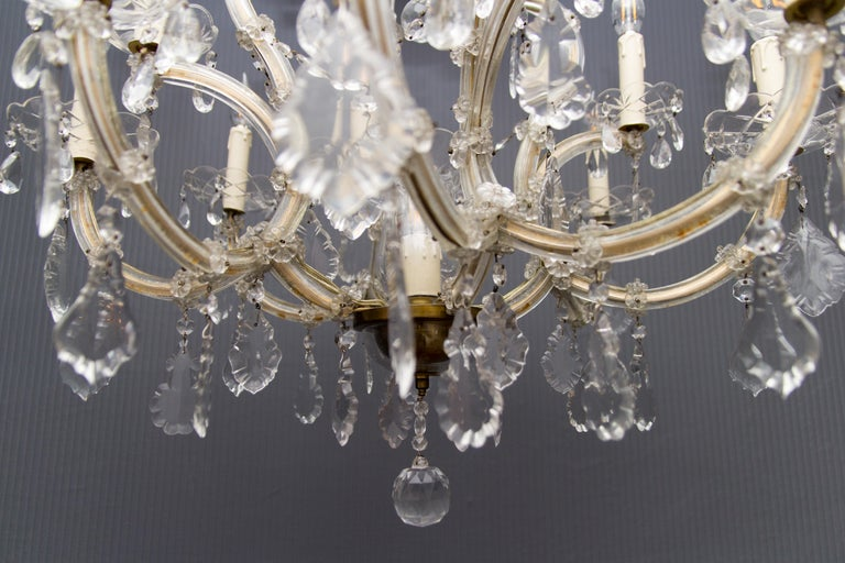 Maria Theresa Style Thirteen-Light Crystal Chandelier, 1950s For Sale 4