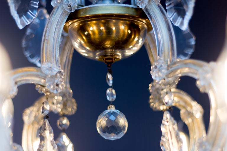 Maria Theresa Style Thirteen-Light Crystal Chandelier, 1950s For Sale 6