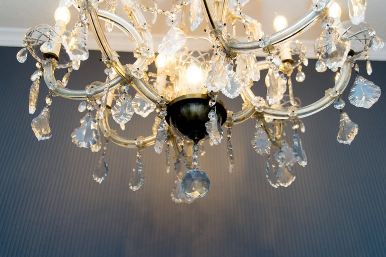 Maria Theresa Style Thirteen-Light Crystal Chandelier, 1950s For Sale 9