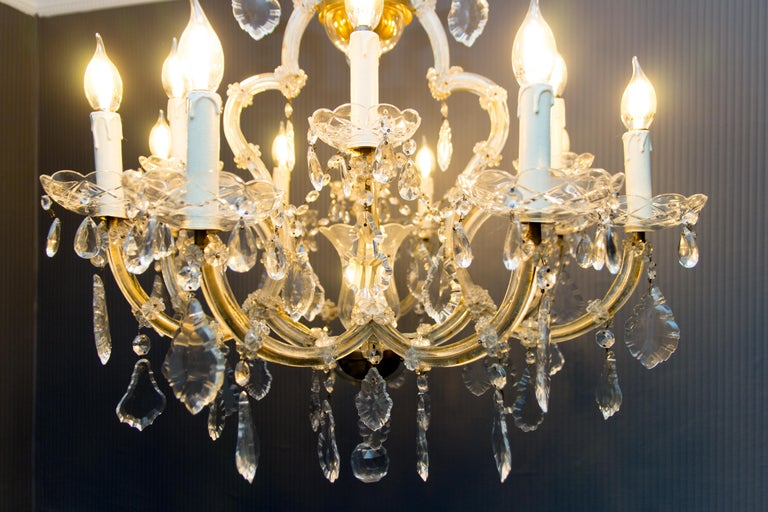 Maria Theresa Style Thirteen-Light Crystal Chandelier, 1950s For Sale 10