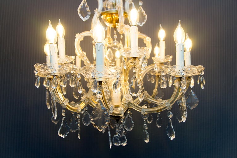 Maria Theresa Style Thirteen-Light Crystal Chandelier, 1950s For Sale 11