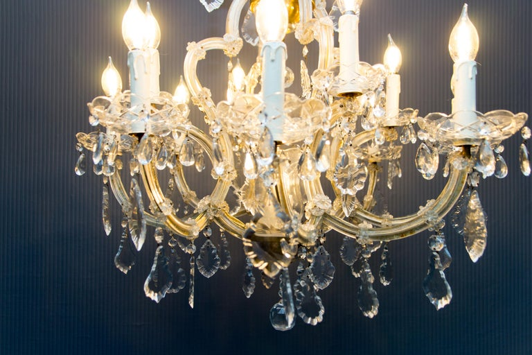 Maria Theresa Style Thirteen-Light Crystal Chandelier, 1950s For Sale 12