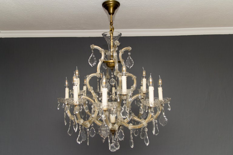 Italian Maria Theresa Style Thirteen-Light Crystal Chandelier, 1950s For Sale