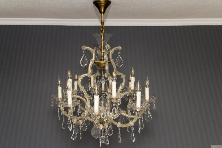 Mid-20th Century Maria Theresa Style Thirteen-Light Crystal Chandelier, 1950s For Sale