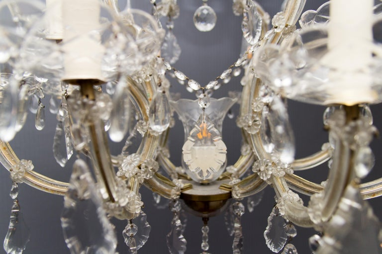 Brass Maria Theresa Style Thirteen-Light Crystal Chandelier, 1950s For Sale