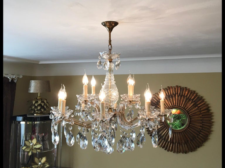 Elegant large vintage crystal chandelier - Maria Theresa style, 12 lights.