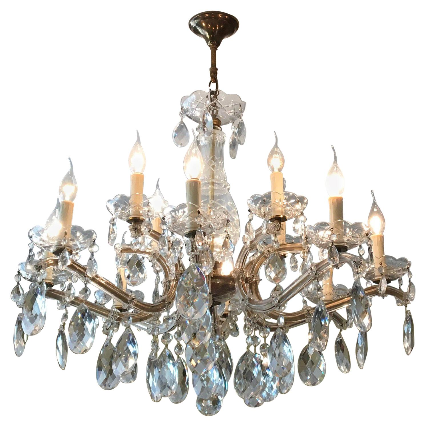 Crystal Chandelier Maria Theresa Style with 12 Lights , Mid-20th Century