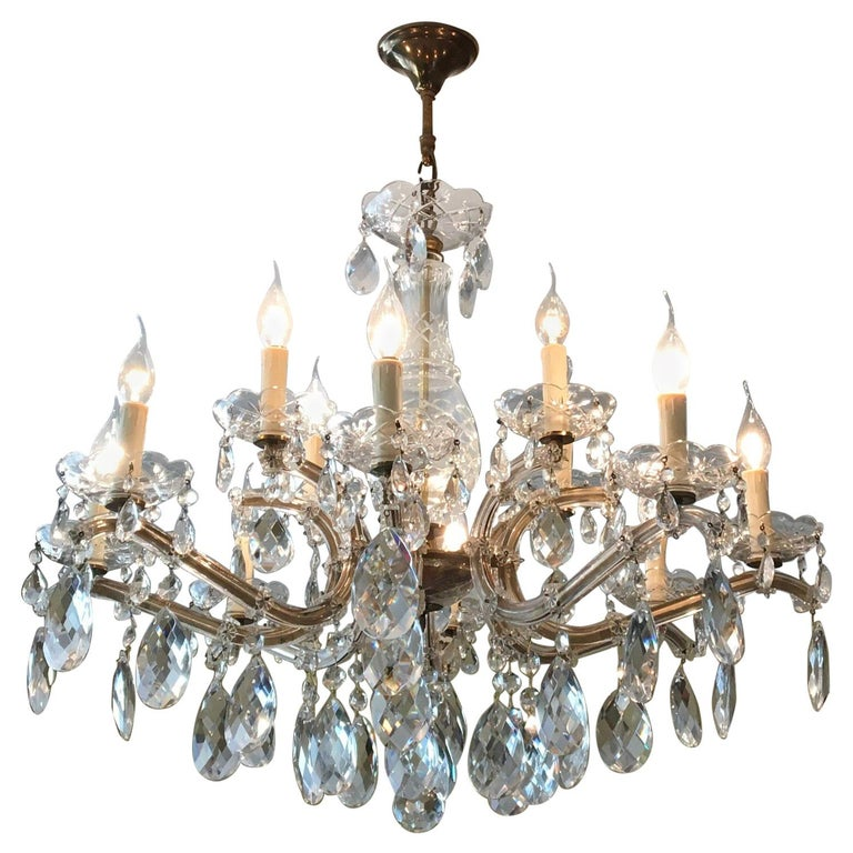 Maria Theresa Style Vintage 12 Lights Crystal Chandelier For Sale