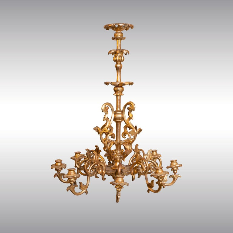 Austrian Maria Theresien, Rococo Chandelier 1750/Original, Leaf Gilded Newly Restored  For Sale