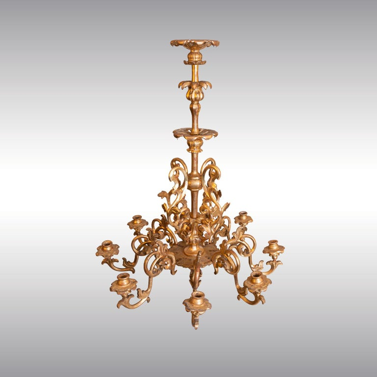 Hand-Crafted Maria Theresien, Rococo Chandelier 1750/Original, Leaf Gilded Newly Restored  For Sale