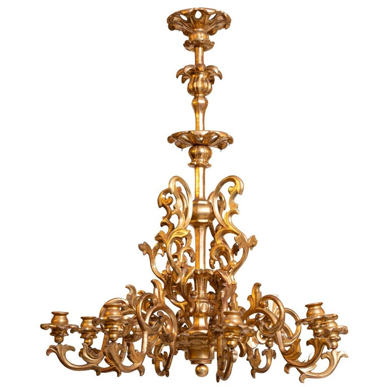 Maria Theresien, Rococo Chandelier 1750/Original, Leaf Gilded Newly Restored  For Sale