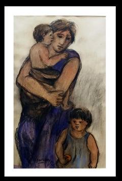 MATERNIDAD. Original pastel painting