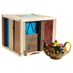 Marian Anderson Teapot and Box Set in Glazed Porcelain and Wood by Roberto Lugo