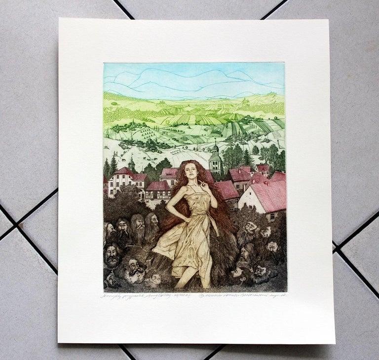 An unusual case of Anna Csillag - XXI century, Figurative etching, Colourful - Print by Marian Bocianowski
