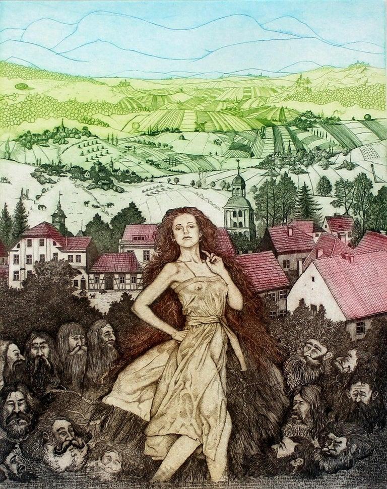 Marian Bocianowski Figurative Print - An unusual case of Anna Csillag - XXI century, Figurative etching, Colourful