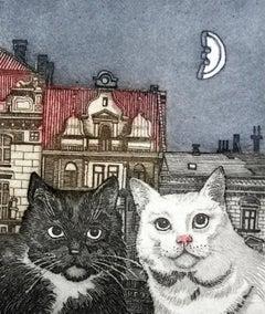 Black & White - XXI Century, Contemporary Figurative Print, Animals, Cats
