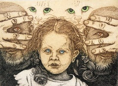 Pour Feliciter - Figurative print, Girl, Cats