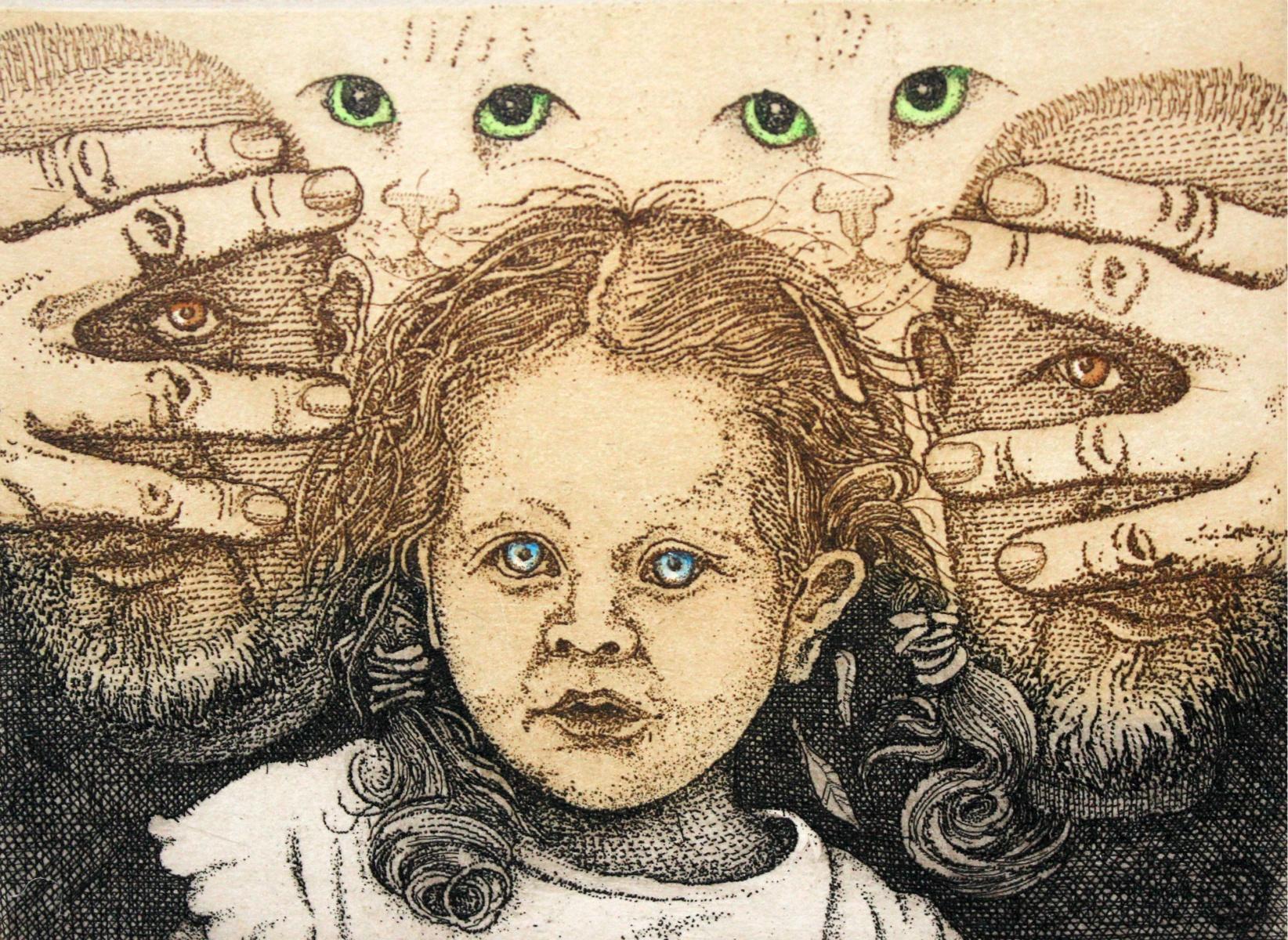 Pour Feliciter - XXI Century, Contemporary Figurative Print, Girl, Cats