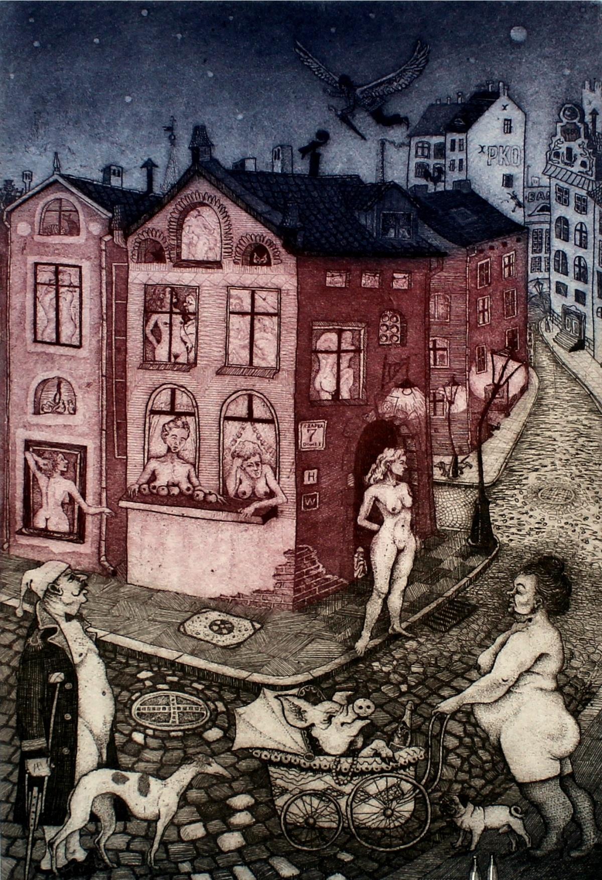 Regular Day - XXI century, Figurative etching, Colourful, Nude, Town scene