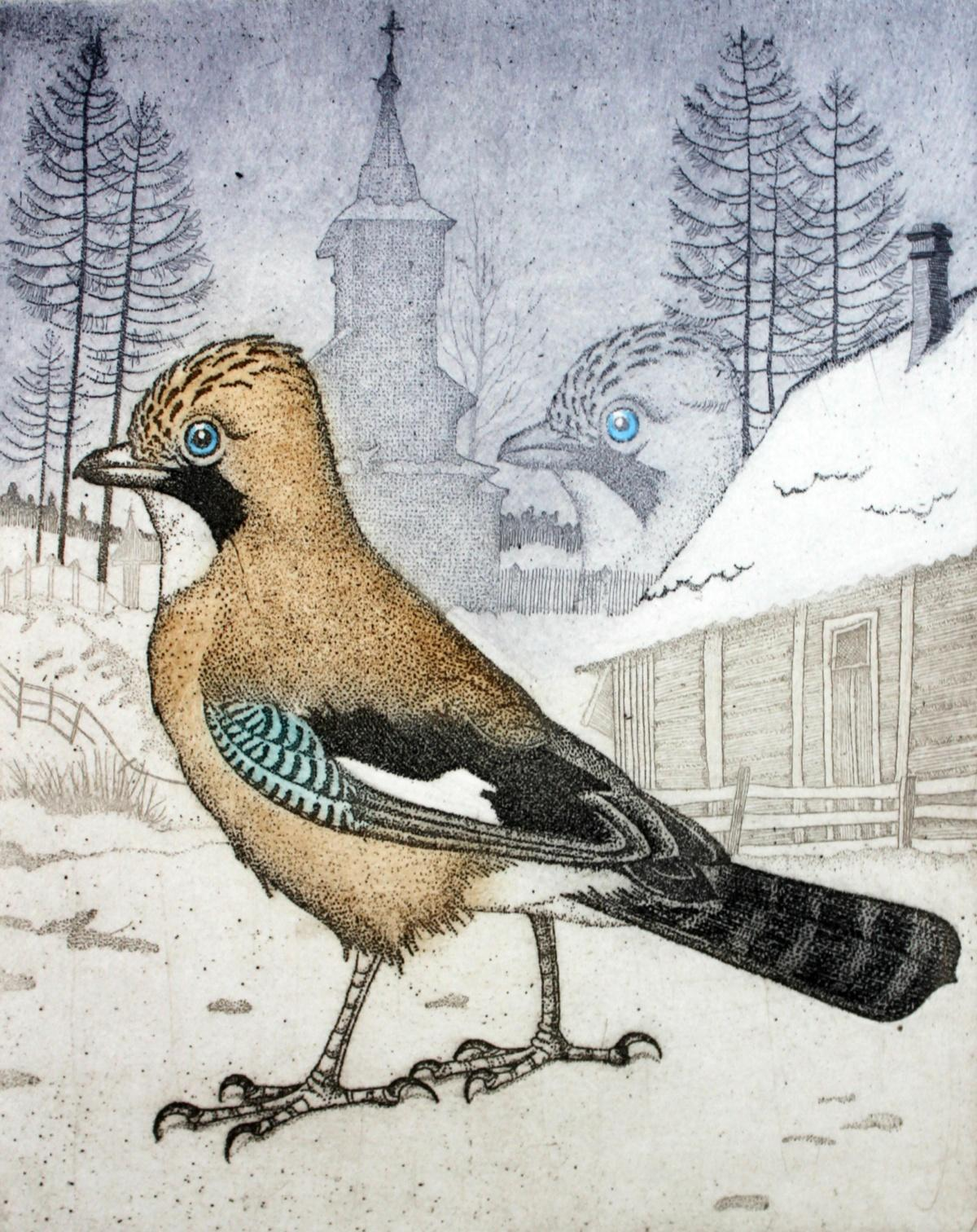 Untravelling jay - Figurative print, Animals, Birds