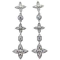 Mariani 1.92 Carat Round Brilliant Diamond and White Gold Dangle Earrings