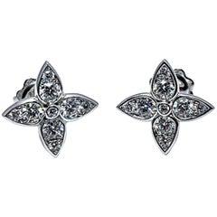 Mariani Round Brilliant Diamond and 18 Karat White Gold Stud Earrings